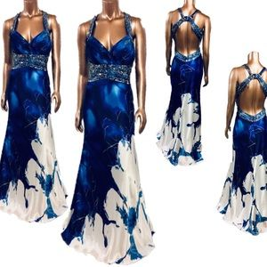 CACHET Watercolor Print Prom Dress Sequin Beads